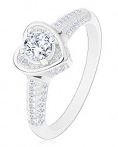 Zásnubný prsteň zo striebra 925, srdiečko s čírym zirkónom, trblietavé ramená J17.03 - Veľkosť: 49 mm