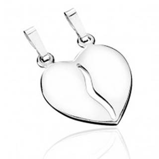 Dvojprívesok zo striebra 925 - rozpolené lesklé srdce