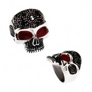Masívny prsteň z ocele 316L, patinovaná lebka, bodky, červené glazúrované oči - Veľkosť: 59 mm