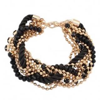 Náramok - zatočená čierna špirála zo šnúrok, retiazky zlatej farby, korálky