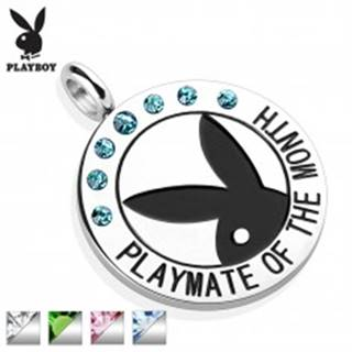 Oceľový okrúhly prívesok striebornej farby, čierny Playboy zajačik, zirkóniky, nápis - Farba: Aqua modrá