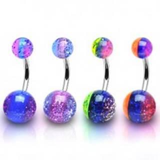 Oceľový piercing do pupku - trojfarebný, priehľadný, trblietky vo vnútri - Farba piercing: Fialová - Modrá - Fialová