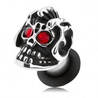 Oceľový plug do ucha, strieborný odtieň, lebka s helmou, patina, červené zirkóny - Hrúbka: 3 mm