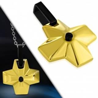 Oceľový prívesok - široký kríž zlatej farby s čiernym očkom v strede