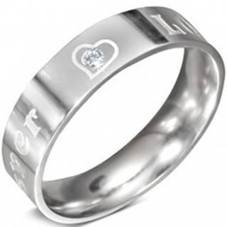 Oceľový prsteň - nápis FOREVER LOVE a zirkón, 6 mm - Veľkosť: 52 mm