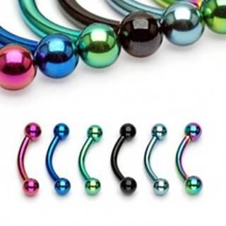 Piercing do obočia anodizovaný titán s guličkami - Rozmer: 1,2 mm x 10 mm x 4x4 mm, Farba piercing: Dúhová