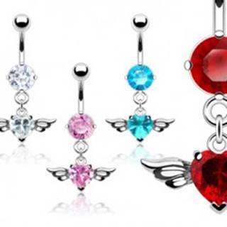 Piercing pupka veľký zirkón srdce a vtáčie krídla - Farba piercing: Aqua