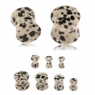 Plug do ucha z jaspisu dalmatínskeho, sivohnedý odtieň, čierne a hnedé škvrny X18.06 - Hrúbka: 10 mm