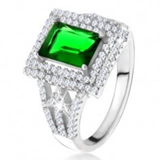 Prsteň s obdĺžnikovým zeleným zirkónom, dvojitý číry lem, šípky, striebro 925 U18.12 - Veľkosť: 49 mm