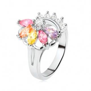 Prsteň striebornej farby, vejár z farebných kamienkov, číre zirkóny L9.10 - Veľkosť: 49 mm