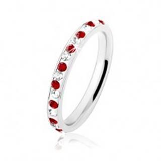Prsteň z ocele 316L v striebornej farbe, tmavočervené a číre zirkóniky - Veľkosť: 49 mm