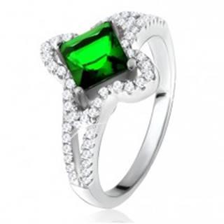 Prsteň zo striebra 925, šikmo uchytený zelený štvorcový zirkón U18.02 - Veľkosť: 50 mm