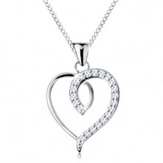 Strieborný 925 náhrdelník, nesúmerný obrys srdca s trblietavou polovicou