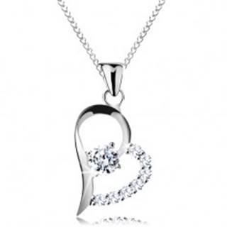 Strieborný náhrdelník 925, číry zirkón v asymetrickej kontúre srdca, retiazka