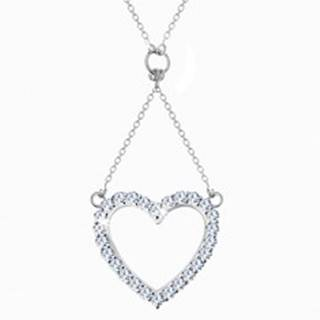 Strieborný náhrdelník 925, retiazka a prívesok - zirkónová kontúra srdca