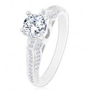 Zásnubný prsteň, striebro 925, trblietavé ramená s tenkými líniami, číry zirkón - Veľkosť: 50 mm