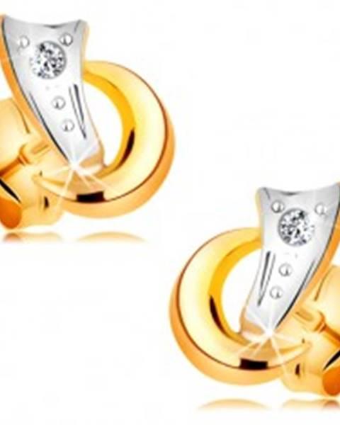 cd0e55c3e Dvojfarebné náušnice v 14K zlate - dva oblúčiky a trblietavý diamant čírej  farby BT177.09