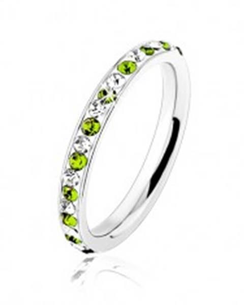 Oceľový prsteň striebornej farby, číre a svetlozelené zirkóniky HH17.15 - Veľkosť: 49 mm