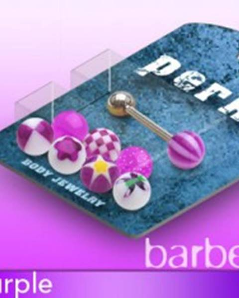 Piercing do jazyka cukríkové guličky - sada - Farba piercing: Biela - Čierna