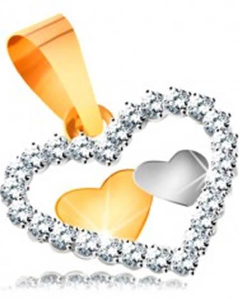 Prívesok v kombinovanom zlate 585 - dve malé srdiečka v kontúre srdca zo zirkónov