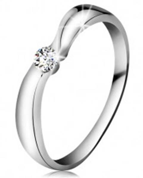 Prsteň v bielom 14K zlate so žiarivým briliantom čírej farby, širšie ramená BT180.04/10 - Veľkosť: 49 mm
