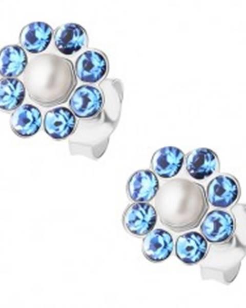 Puzetové náušnice, striebro 925, modrý ligotavý kvietok, biela perlička