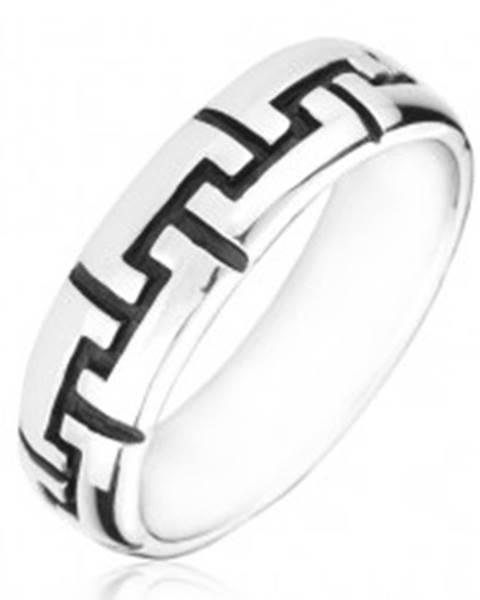 Strieborný prsteň 925 - čierne gravírované zúbky - Veľkosť: 50 mm