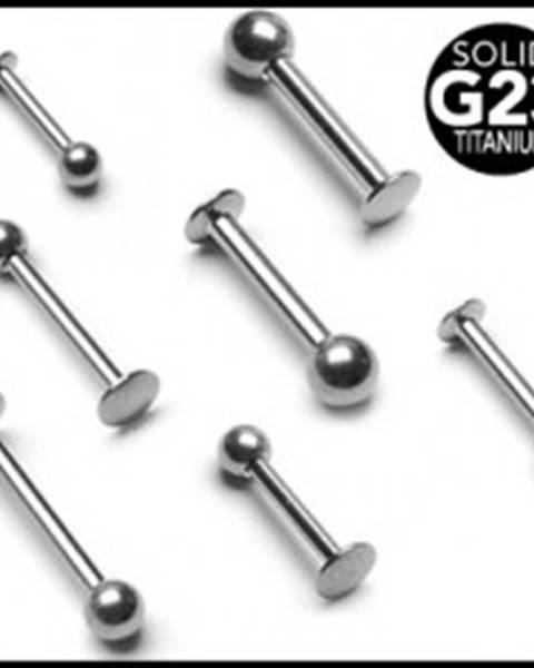 Titánový piercing do brady a pery s guličkou - Rozmer: 1,2 mm x 10 mm x 3 mm
