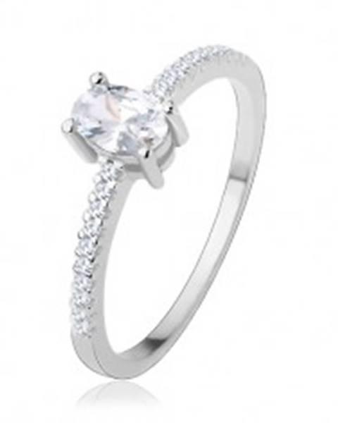 Zásnubný prsteň zo striebra 925, tenké ramená, číry zirkón - ovál - Veľkosť: 51 mm