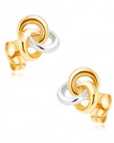 Zlaté ródiované náušnice 375 - dvojfarebný uzol z troch obručí