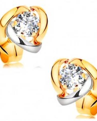 Náušnice v 14K zlate - žiarivý číry briliant lemovaný dvojfarebnými oblúkmi BT177.31