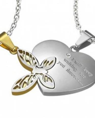 Oceľový dvojprívesok, strieborná a zlatá farba, srdce s nápisom, motýlik s výrezmi Z5.17