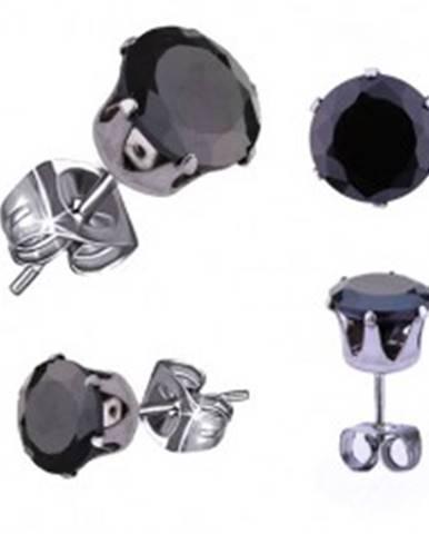 Puzetové náušnice z chirurgickej ocele, čierny okrúhly zirkón, 8 mm
