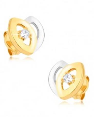 Ródiované dvojfarebné náušnice z 9K zlata - tulipán, výrezy, zirkón GG39.08