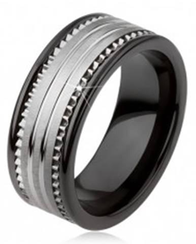 Tungstenová keramická čierna obrúčka s povrchom striebornej farby a prúžkami AB34.13 - Veľkosť: 49 mm