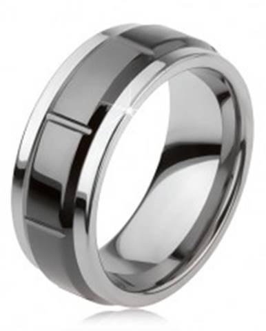 Tungstenový prsteň so zárezmi, strieborná farba, lesklý čierny povrch AB34.11 - Veľkosť: 49 mm