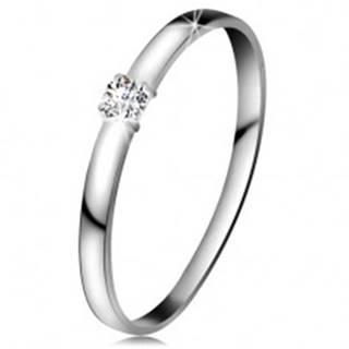 Briliantový prsteň v bielom 14K zlate - diamant čírej farby, lesklé ramená - Veľkosť: 49 mm