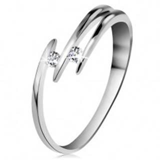 Briliantový prsteň z bieleho 14K zlata - dva ligotavé číre diamanty, tenké línie ramien BT178.24/30 - Veľkosť: 48 mm