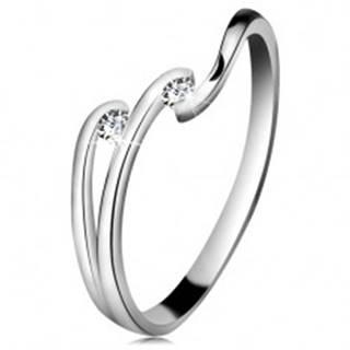 Diamantový prsteň z bieleho 14K zlata - dva ligotavé číre brilianty, lesklé línie ramien BT180.93/99/503.28/29 - Veľkosť: 49 mm