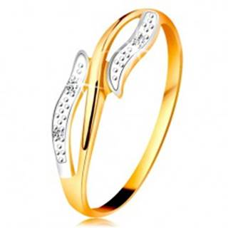 Diamantový prsteň zo 14K zlata, zvlnené dvojfarebné ramená, tri číre diamanty - Veľkosť: 49 mm