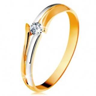 Diamantový zlatý prsteň 585, žiarivý číry briliant, rozdelené dvojfarebné ramená BT178.17/23/503.88 - Veľkosť: 49 mm