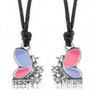 Dva náhrdelníky pre priateľov, ružovo-fialové motýle, kvietky, BEST FRIEND