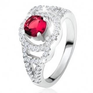 Lesklý prsteň zo striebra 925, tmavoružový okrúhly kameň, zirkónové oblúky - Veľkosť: 49 mm