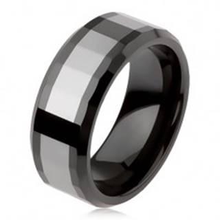 Lesklý volfrámový prsteň, dvojfarebný, geometricky brúsený povrch AB34.05 - Veľkosť: 49 mm