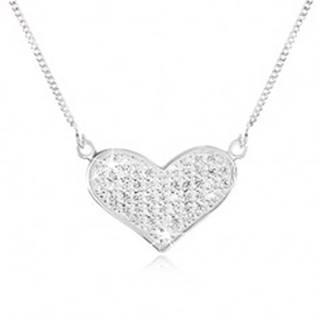 Nastaviteľný náhrdelník zo striebra 925, retiazka, rozšírené srdce, číre zirkóniky