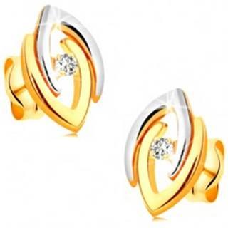 Náušnice v 14K zlate - spojené dvojfarebné podkovy a číry žiarivý briliant