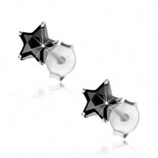 Náušnice zo striebra 925, puzetky, brúsená hviezdička z čierneho zirkónu, 6 mm