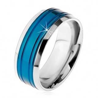 Obrúčka z chirurgickej ocele, modrý pás, lemy striebornej farby, zárezy, 8 mm - Veľkosť: 57 mm