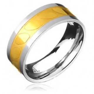Obrúčka z ocele - zlato-strieborná farba, motív šikmých oválov - Veľkosť: 57 mm