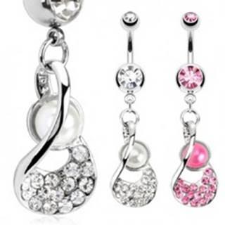 Oceľový piercing do pupku - lastúra s perlovou korálkou a zirkónmi - Farba zirkónu: Číra - C